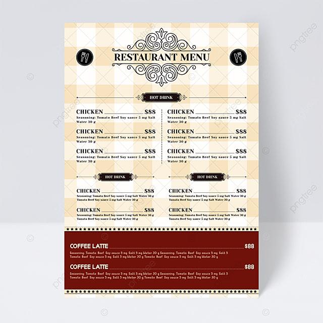 european retro yellow plaid background knife knife and fork restaurant food menu flyer