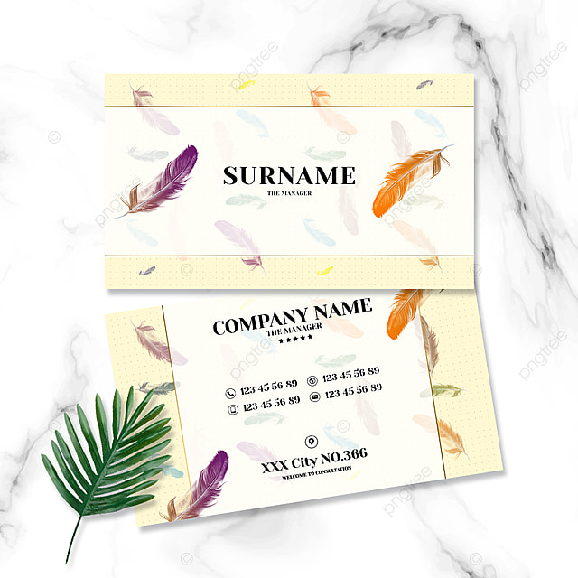 fashion simple yellow background colorful feather business card