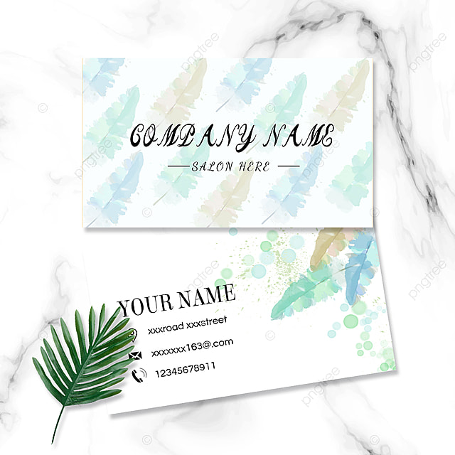 fresh watercolor colorful feather business card