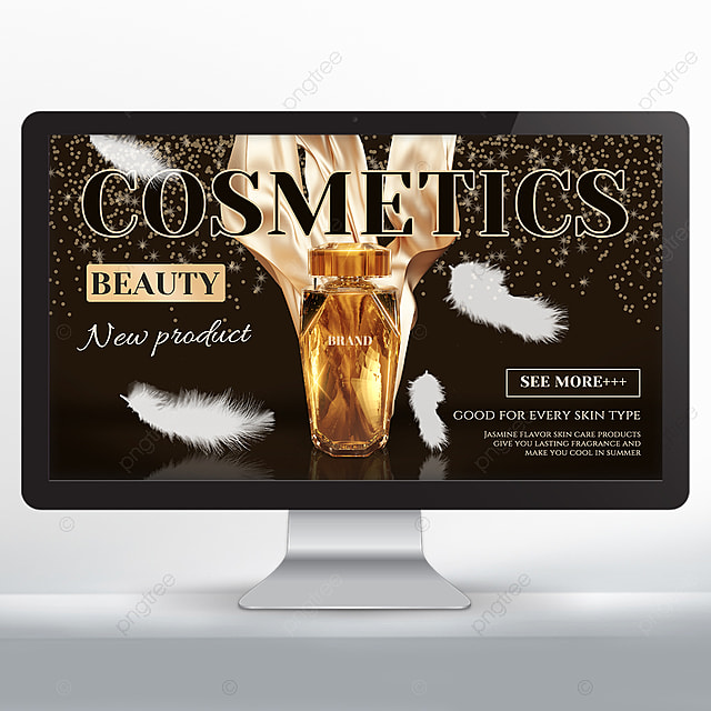 golden white feather makeup skin care product promotion banner