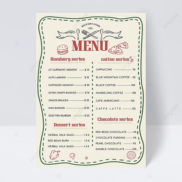 hand drawn retro knife and fork elements minimalist menu design