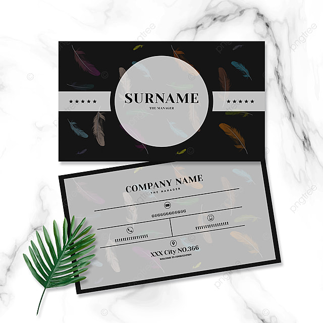high end fashion black color gradient feather business card