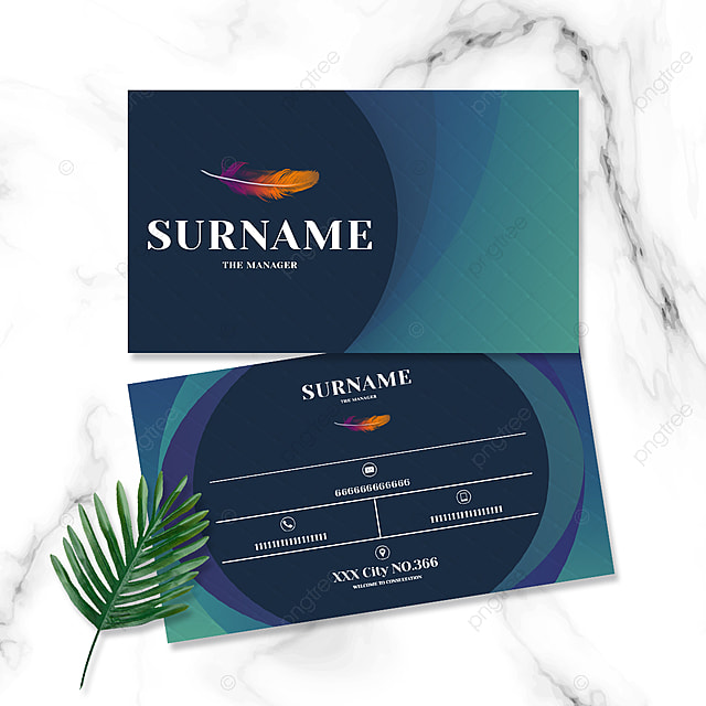 high end minimalist blue background gradient feather business card