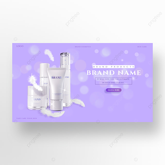 luxury and elegant feather purple moisturizing sunscreen skin care product promotion homepage