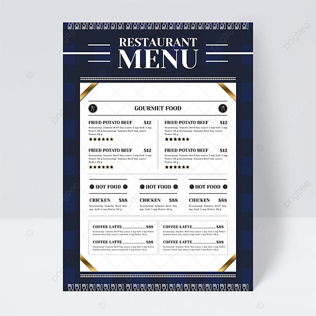 modern minimalist plaid background knife fork restaurant menu flyer