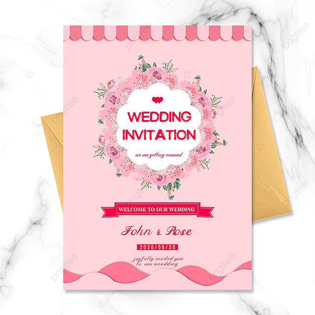 pink small fresh cherry blossom element wedding invitation
