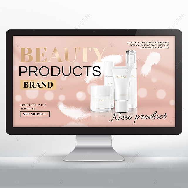pink white feather makeup skin care product promotion banner