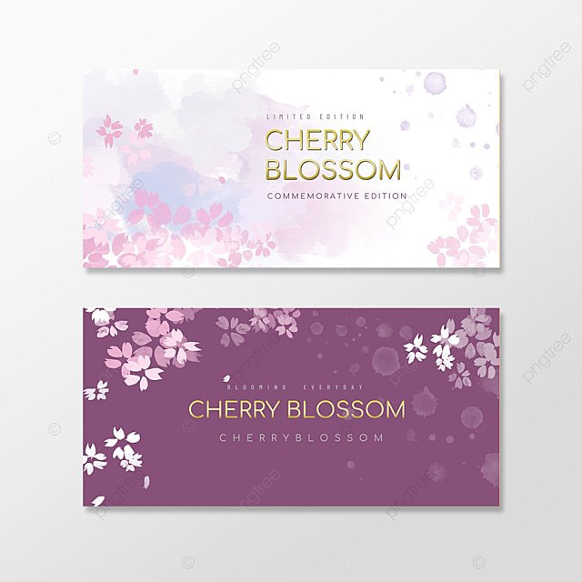 purple watercolor cherry blossom banner souvenir gift voucher