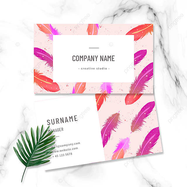 romantic colorful feather business card design