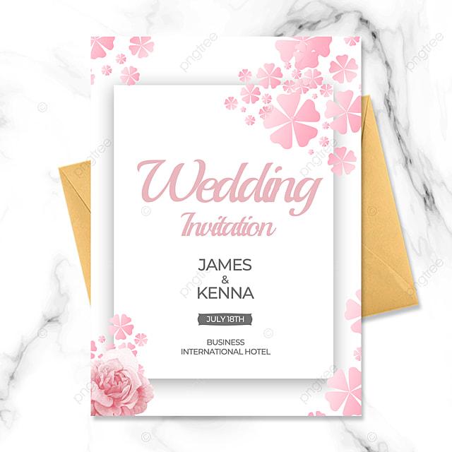 sakura flowers pink wedding invitation