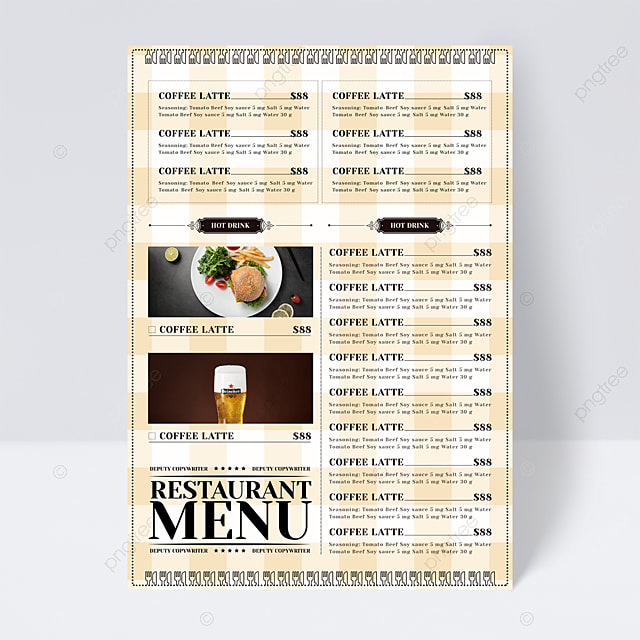simple and exquisite warm color plaid background knife and fork restaurant menu flyer