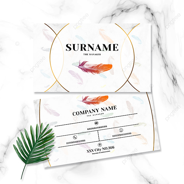 simple and fashionable marble shading color feather business card