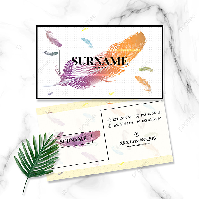 simple color gradient feather business card