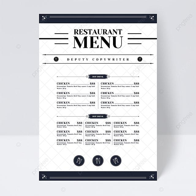 simple european style plaid shading knife fork restaurant food menu flyer