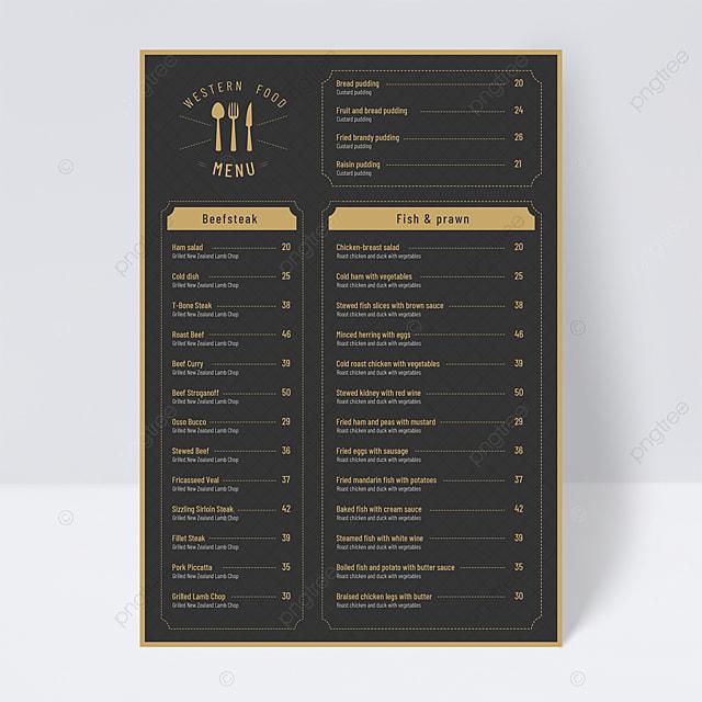 simple style black gold menu