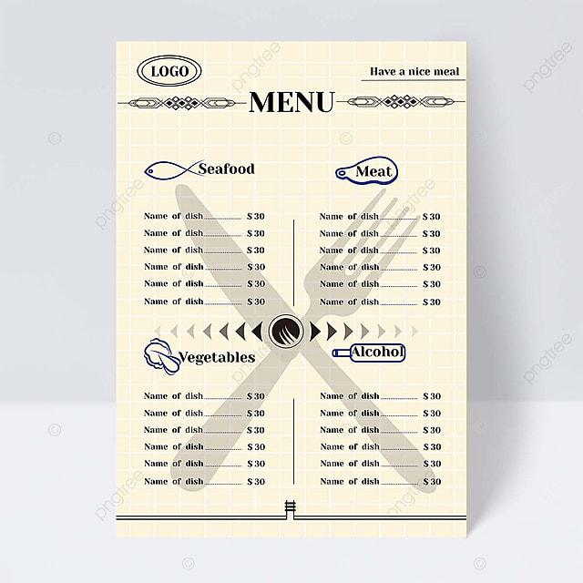 simple style western restaurant knife and fork grid flyer design
