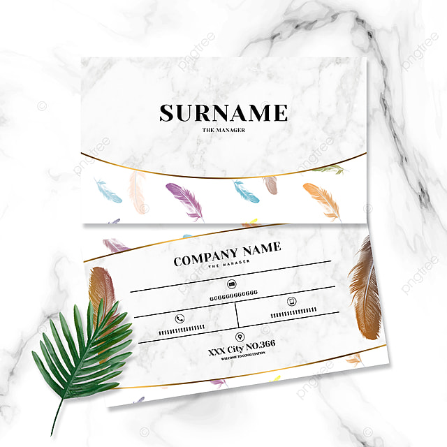 simple trendy marble shading red and yellow gradient feather business card