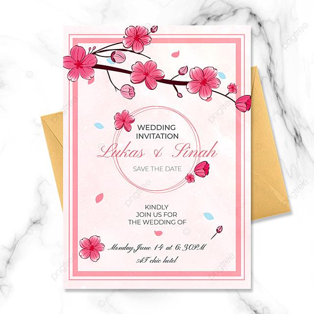 wedding invitation sakura pink