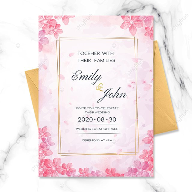 wedding invitation with watercolor sakura elements