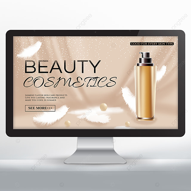 white shiny feather makeup skin care product promotion banner
