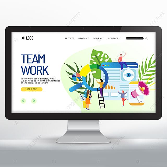 cartoon character teamwork web promotion