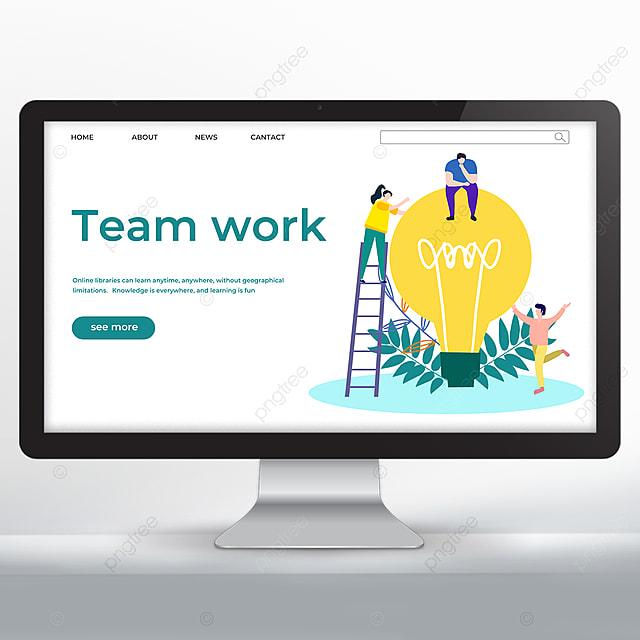green teamwork promotion web design