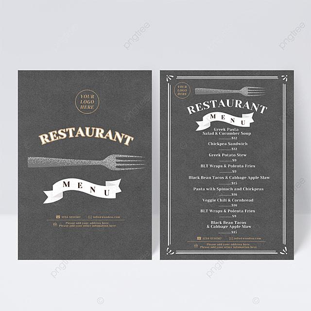 knife and fork element gray simple menu design