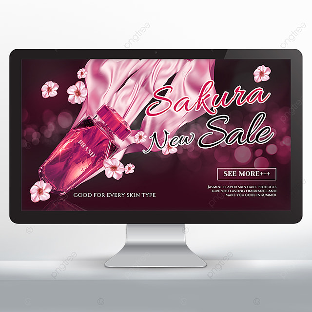 pink cherry blossom perfume cosmetics promotion banner