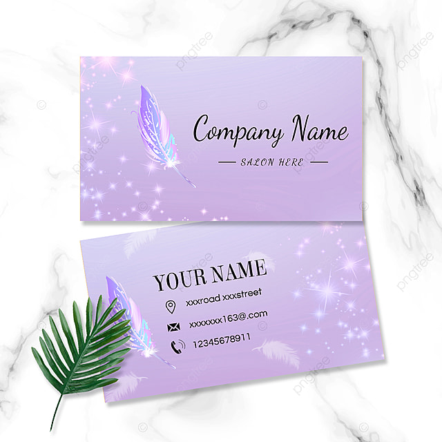 purple fantasy feather business card