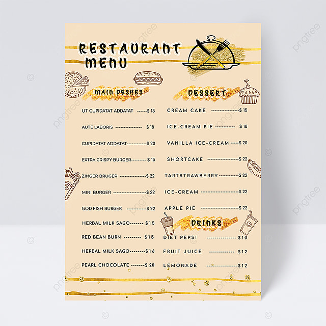 simple style menu design with golden knife and fork elements