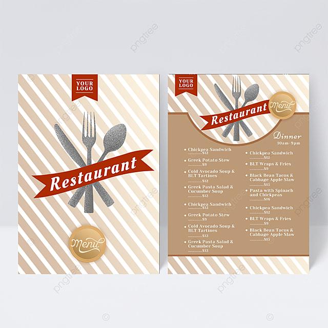 striped knife and fork element menu design