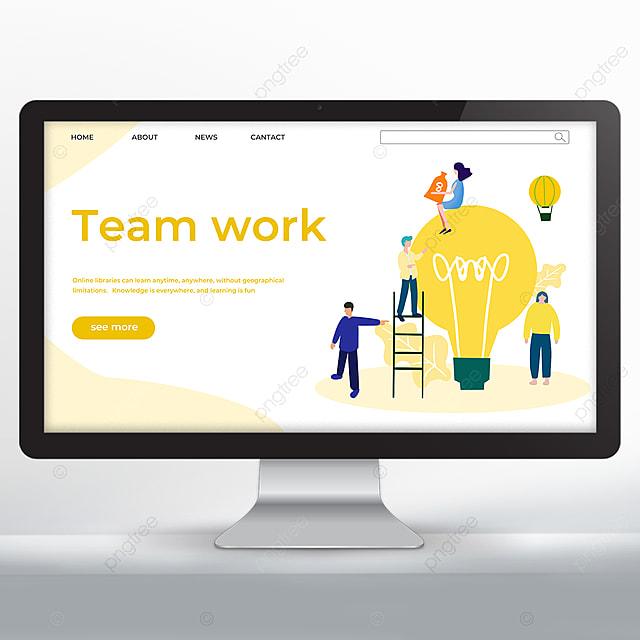 yellow hand drawn teamwork promotion web design