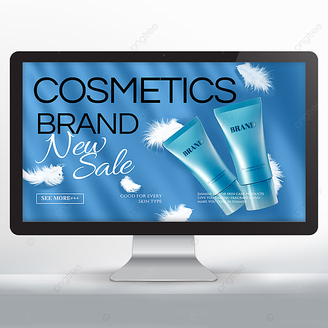 white feather blue background cosmetics promotion banner