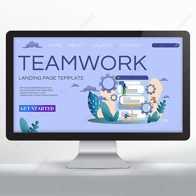 purple set teamwork promotion web design