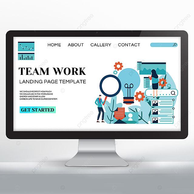 simple set teamwork promotion web design