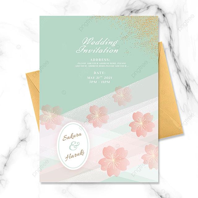 cherry blossom element wedding invitation