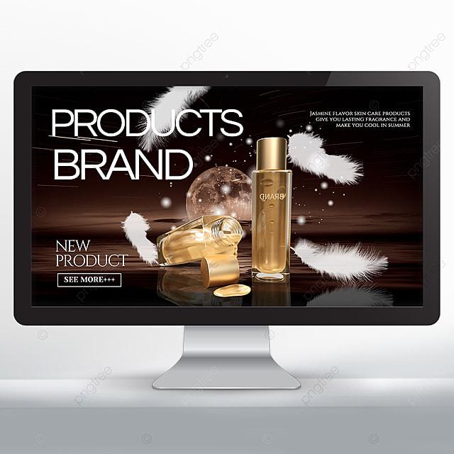 dark background white feather cosmetics promotion banner