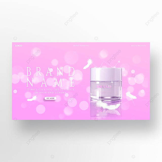 fashion pink series white feather glitter skin care product promotion homepage