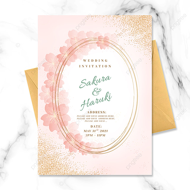 pink sakura element wedding invitation