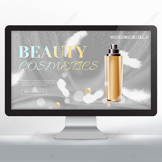 white simple feather cosmetics promotion banner