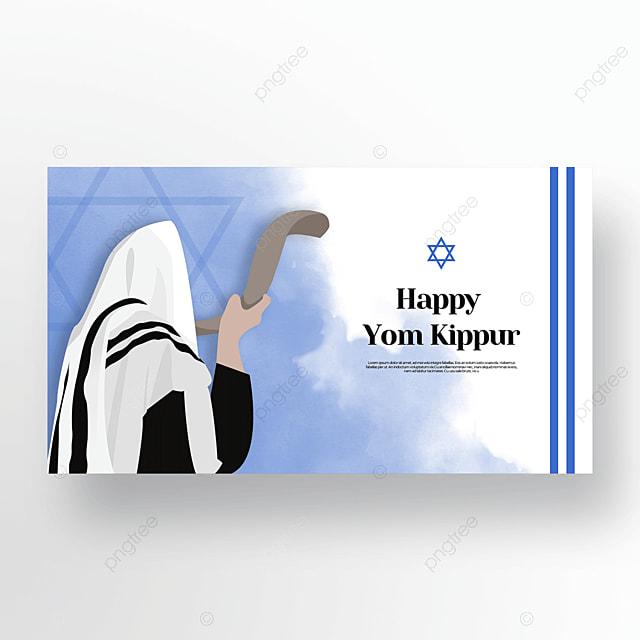 beautiful blue character light effect flashing judaism yom kippur template