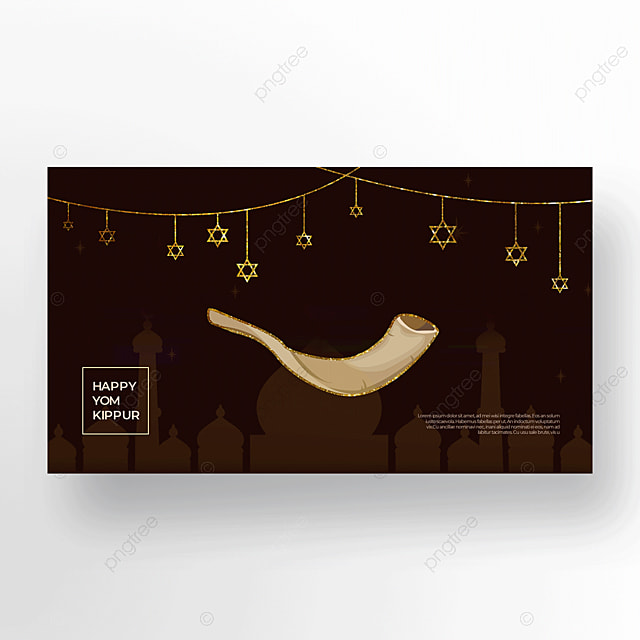 beautiful brown horn light effect flashing judaism yom kippur template