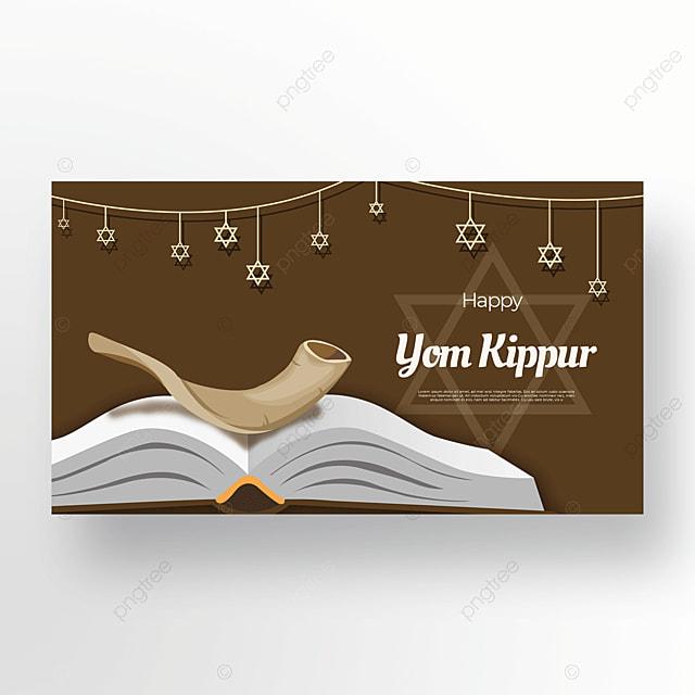 beautiful brown star light effect flashing judaism yom kippur template