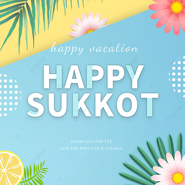 blue and yellow color matching paper cut creative simple cartoon sukkot festival promotion
