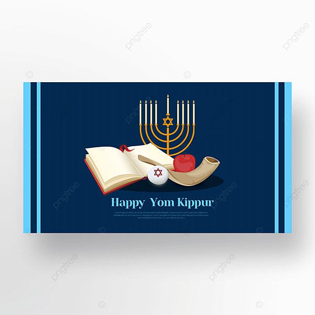 blue beautiful candle light effect flashing judaism yom kippur template