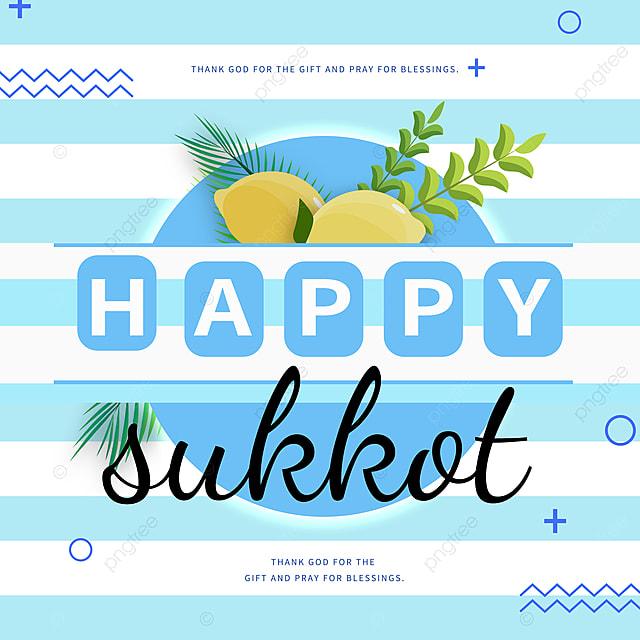 blue stripes simple and creative sukkot festival promotion