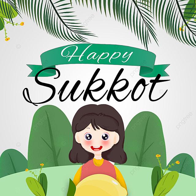 cartoon cute little girl holding lemon creative sukkot festival promotion