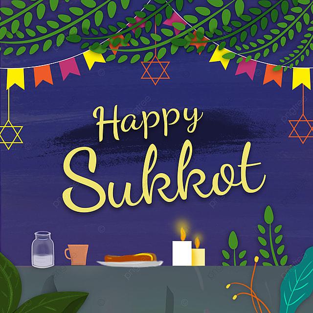 cartoon hand drawn night dining table to celebrate sukkot festival promotion
