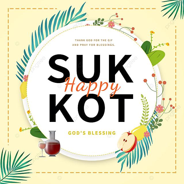 cartoon paper cut yellow creative thatch sukkot festival promotion