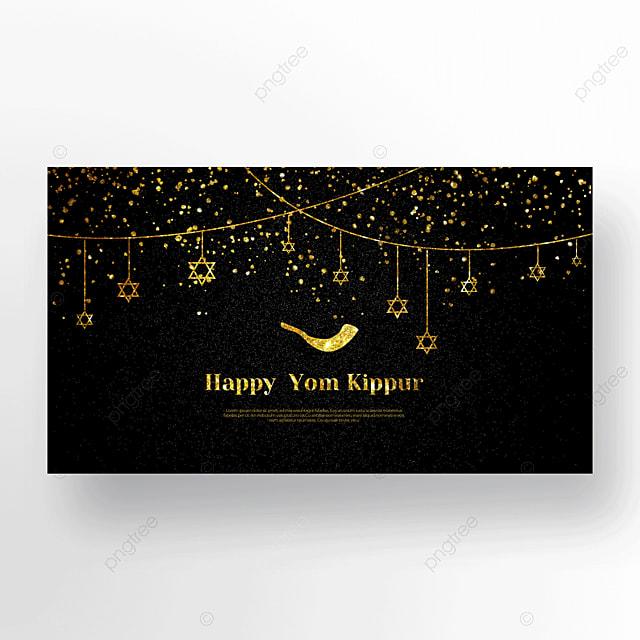 dark night beautiful horn star light effect flashing judaism yom kippur template